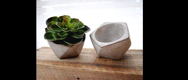 vaso de concreto geometrico