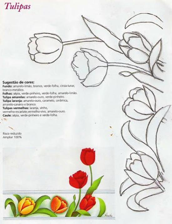 pintura em pano de prato tulipa