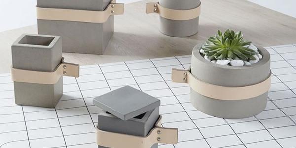 vaso de concreto com cinta