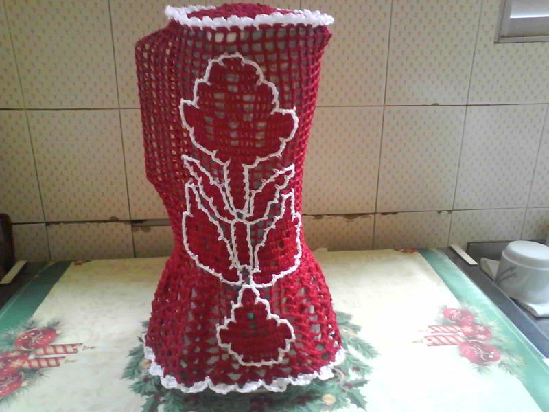capa de crochê de liquidificador com caseado
