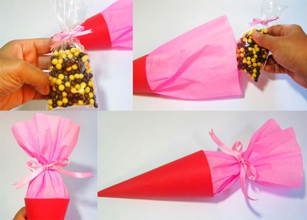 cone em papel para festa