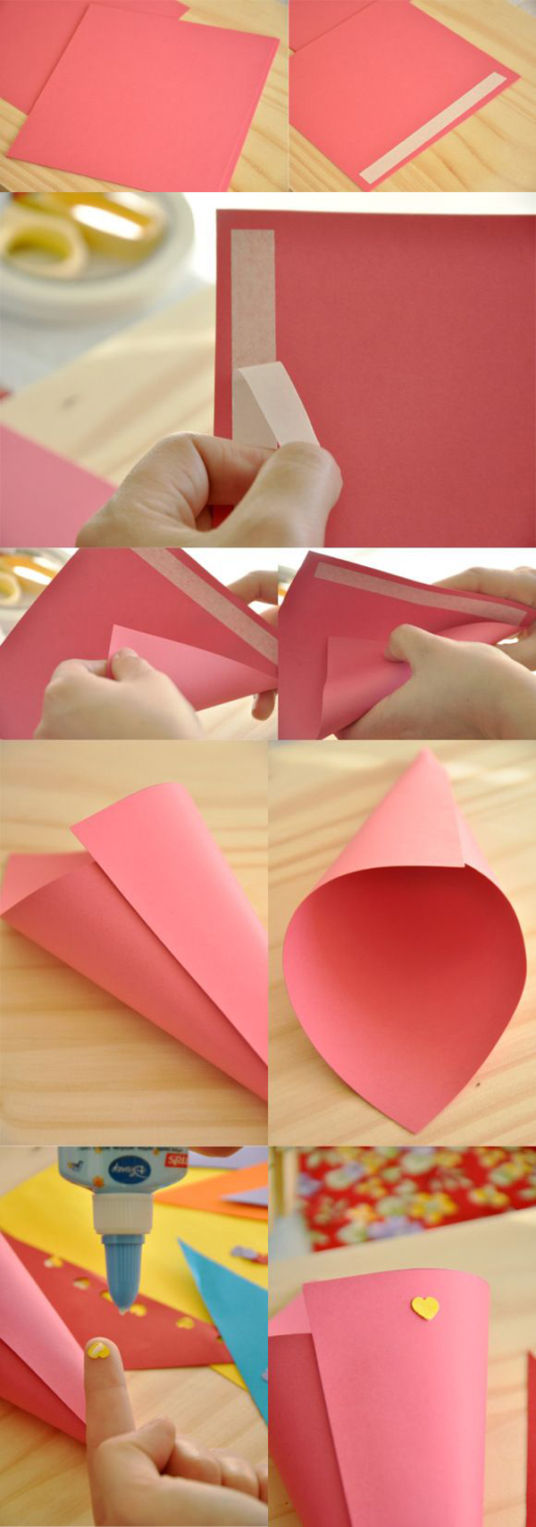 cone em papel rosa