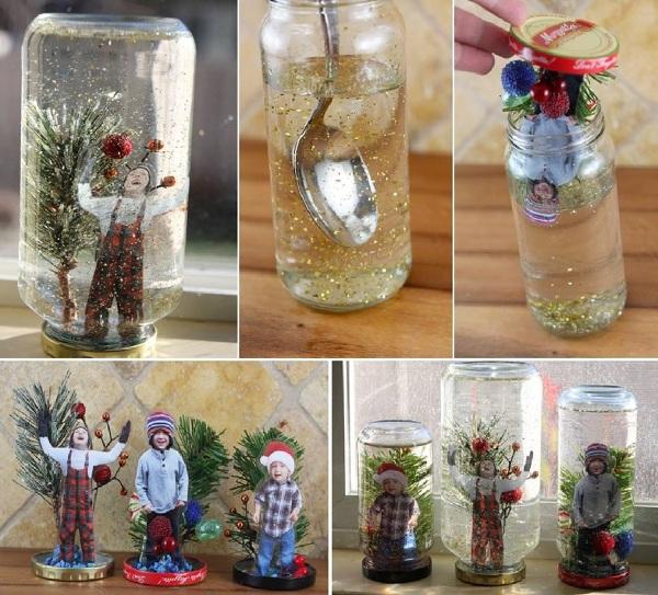 enfeite natalino com pote de vidro