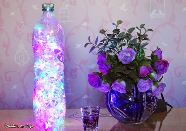abajur de garrafa Pet colorido