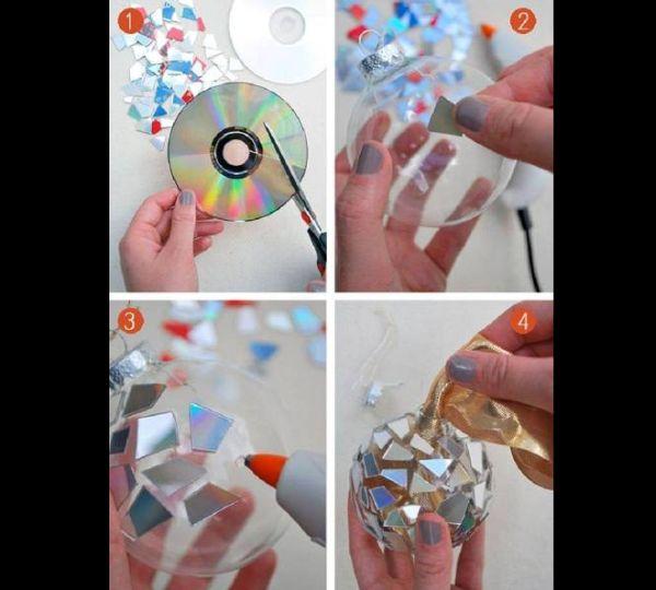 enfeite natalino com cd velho