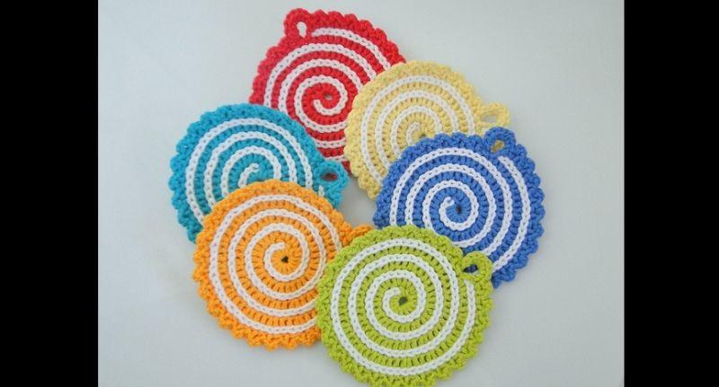 porta copo em crochê espiral