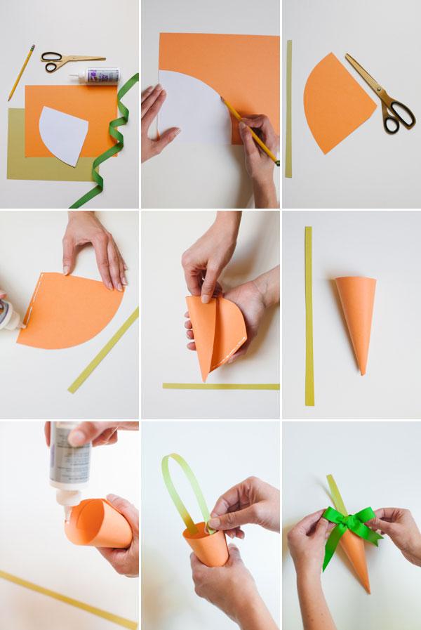 cone em papel cenoura
