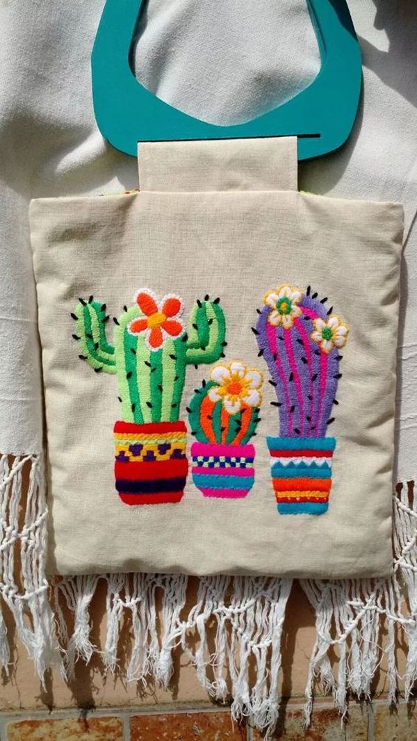 bordado mexicano na bolsa