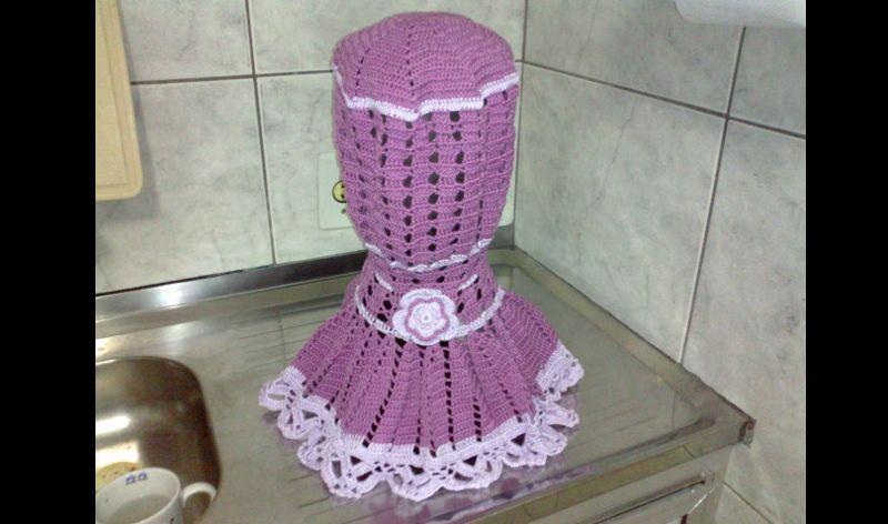 capa de crochê de liquidificador lilás