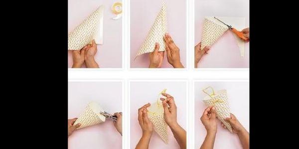 cone em papel com alça