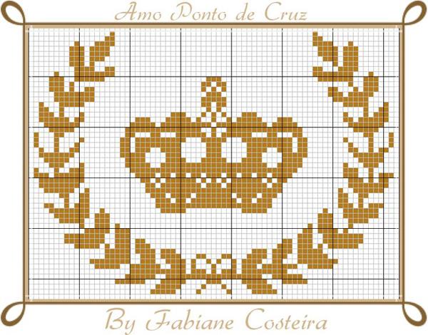 Coroa de ponto cruz com louros