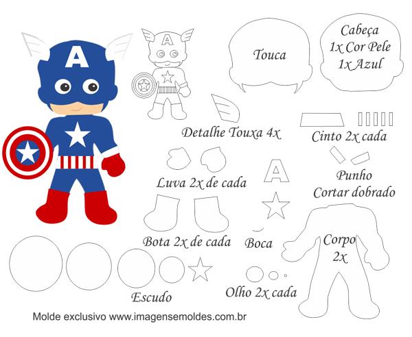 super herois em feltro capitão america