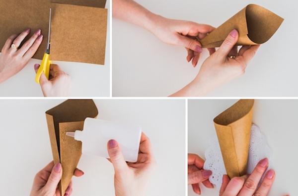 cone em papel decorado