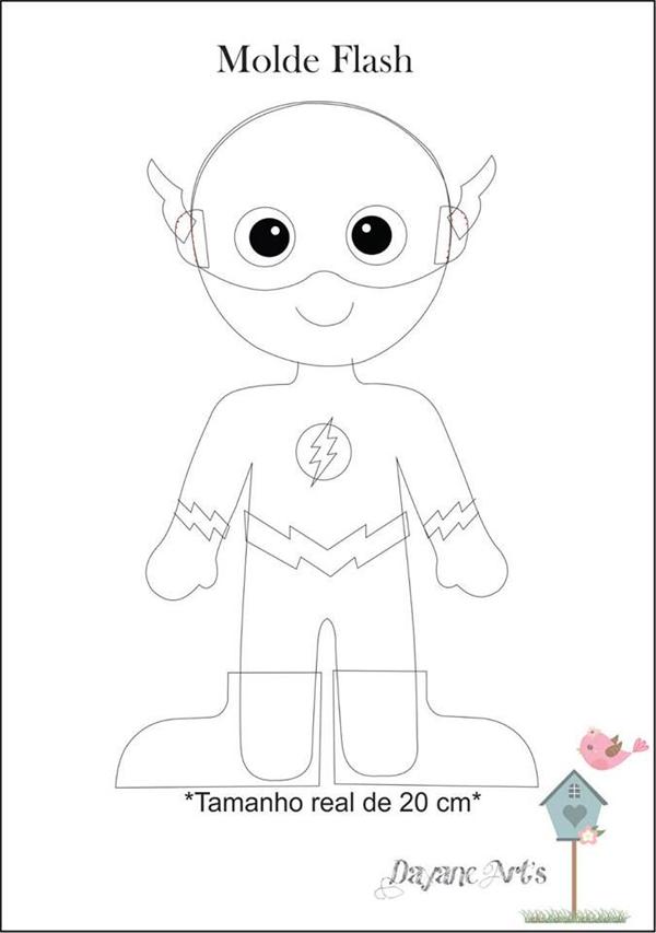 super herois em feltro flash