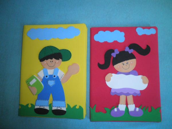 caderno com eva menino e menina