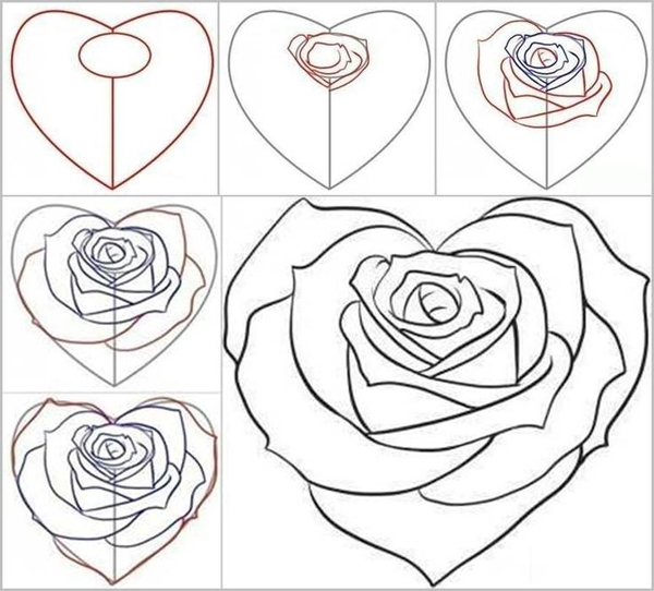 desenhos de flor coração