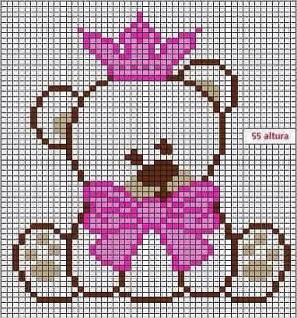 Coroa de ponto cruz ursa