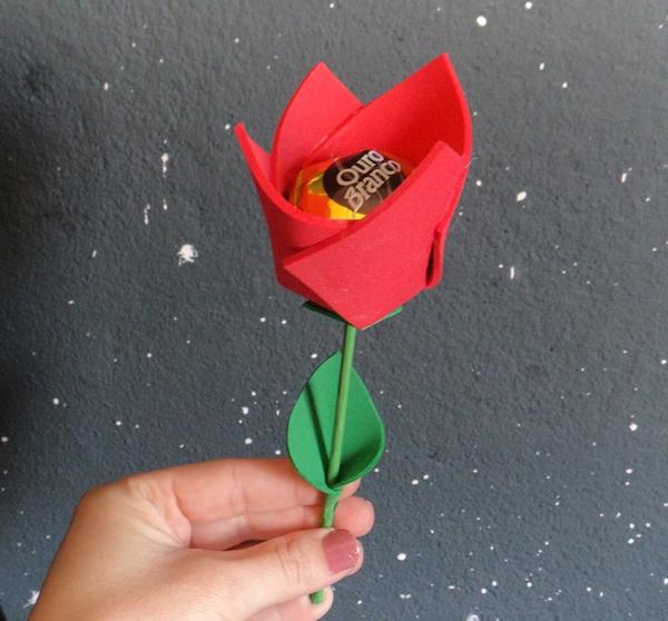 porta bombom em eva de flor simples