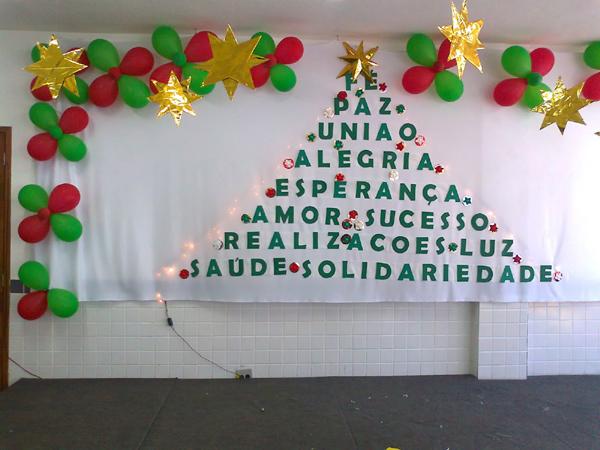painel escolar de Natal criativo