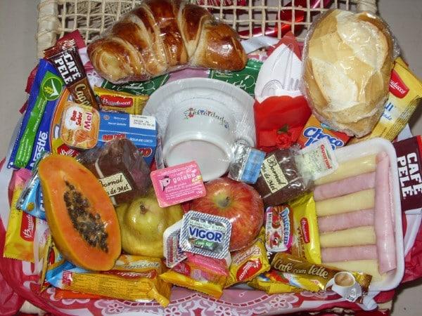 Itens para cesta de café da manhã
