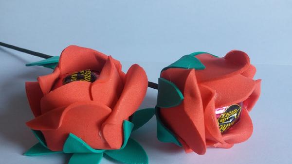 porta bombom em eva de flor com folha