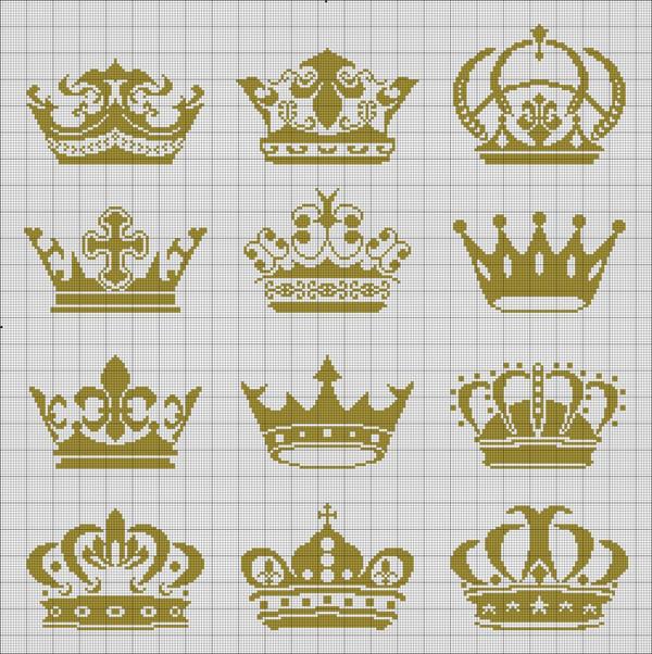 Coroa de ponto cruz dourada
