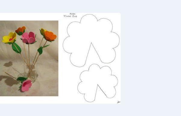 porta bombom em eva de flor com molde