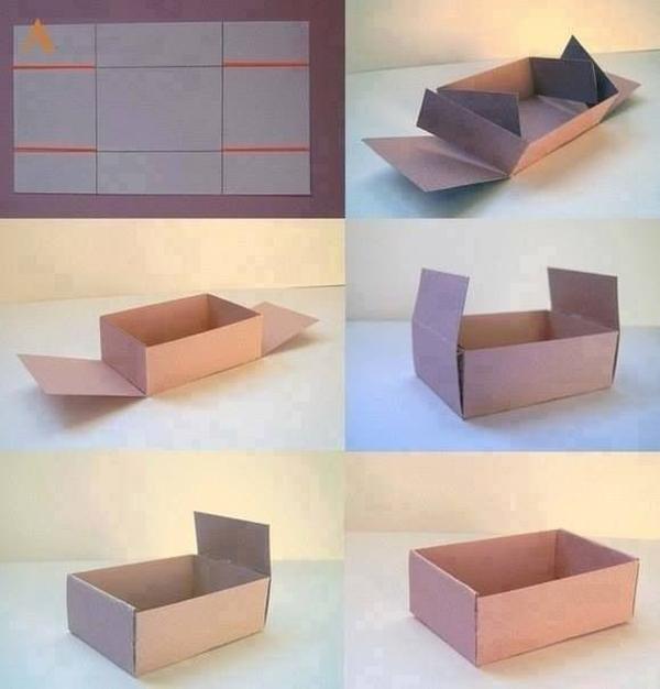 caixa em papel pardo