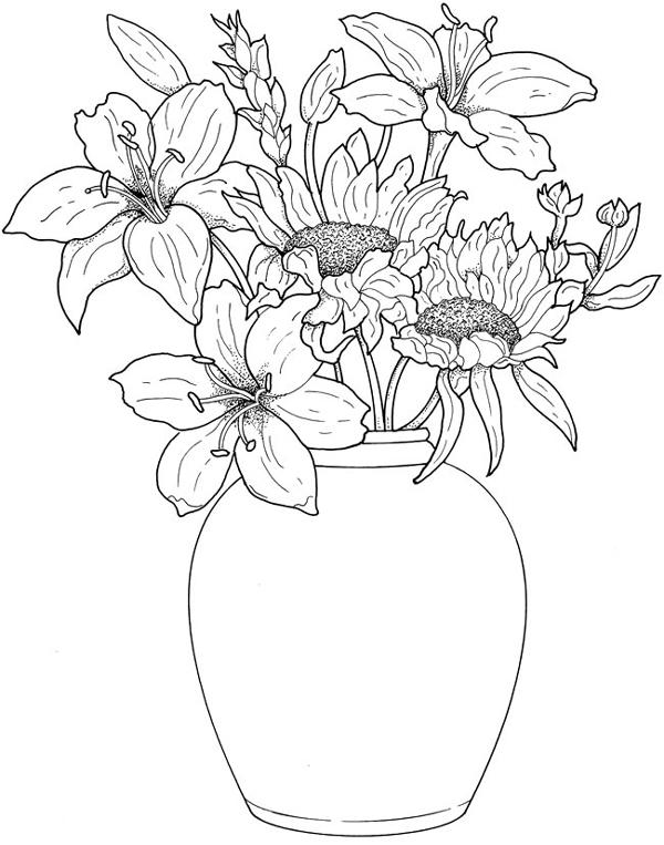 desenhos de flor no vaso
