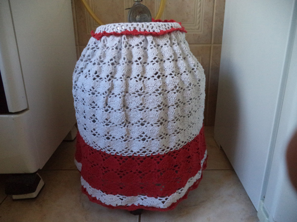 capa de bojão de crochê de linha