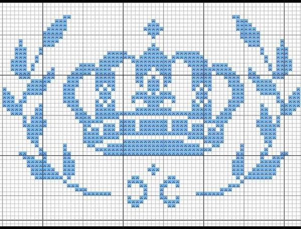 Coroa de ponto cruz azul