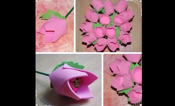 porta bombom em eva de flor rosa