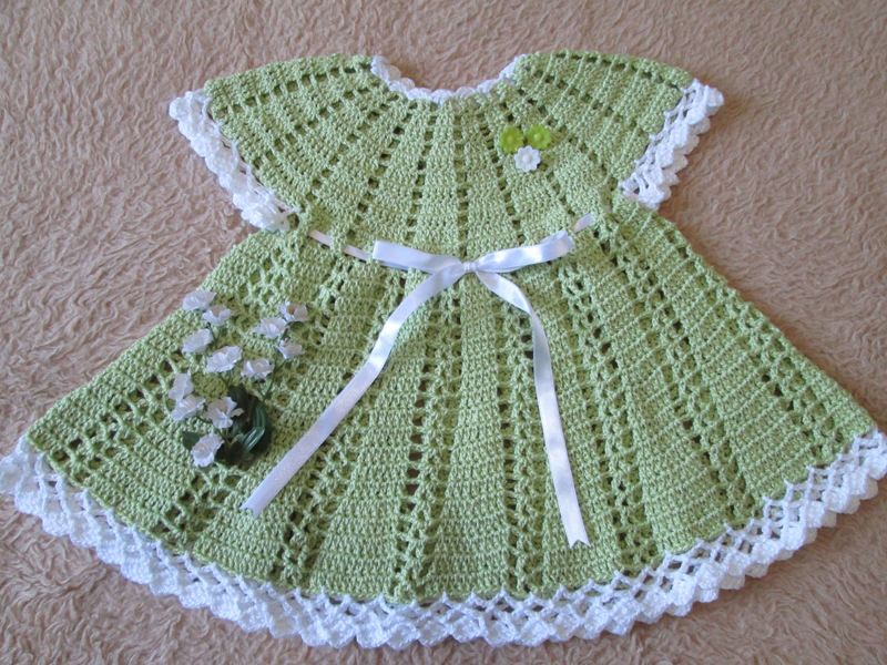 vestido de crochê infantil verde
