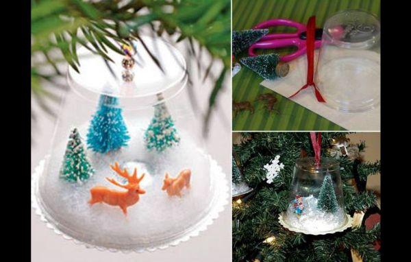 enfeite natalino com copo descartável