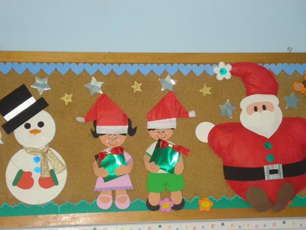 painel escolar de Natal de papel