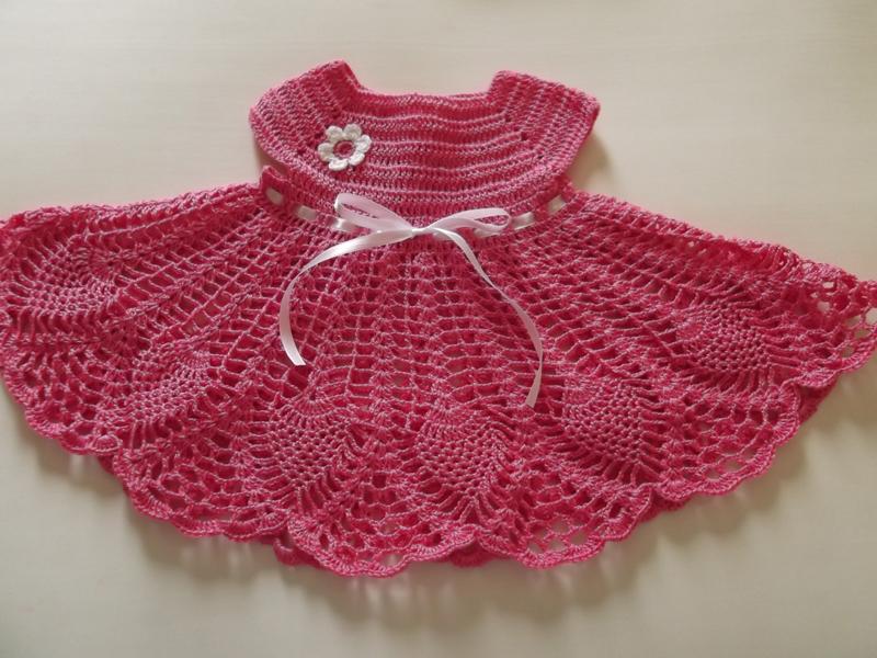 vestido de crochê infantil pink