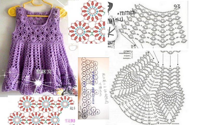 014925ece Vestido de Crochê para Bebê com Gráfico - Artesanato Passo a Passo!