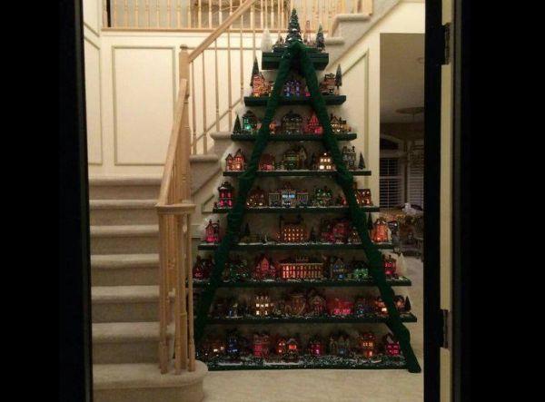 enfeite natalino com escada