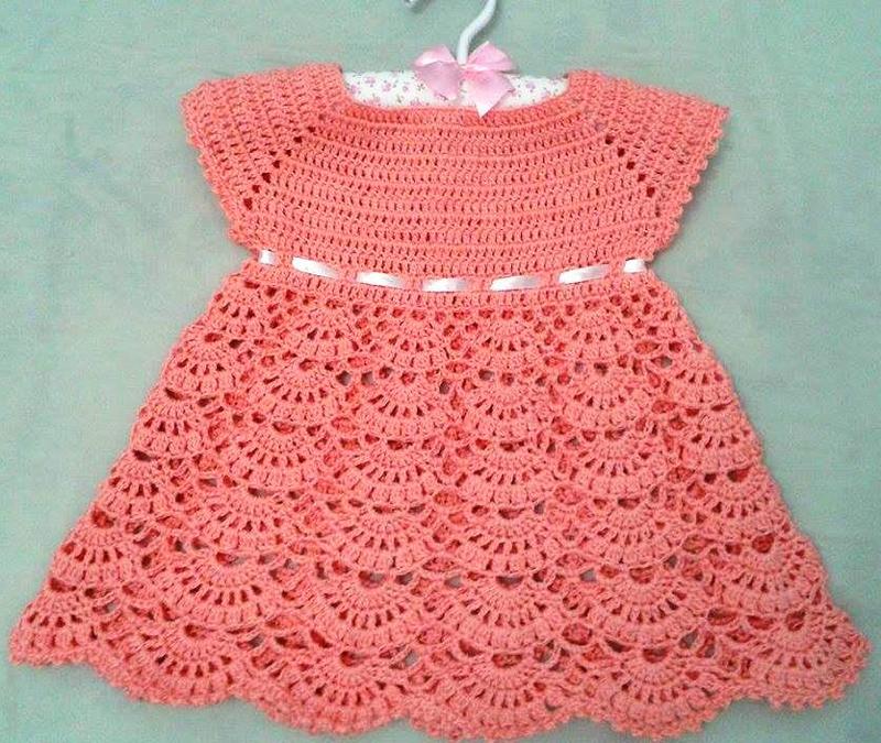 vestido de crochê infantil simples