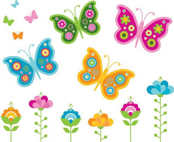 desenhos de flor borboleta