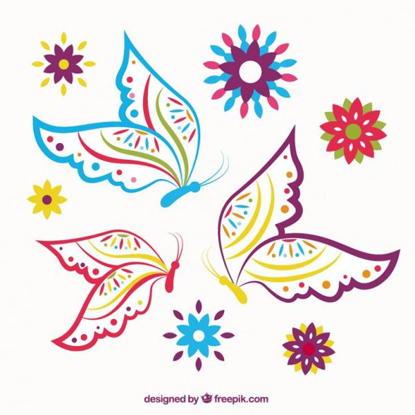 desenhos de flor borboletas