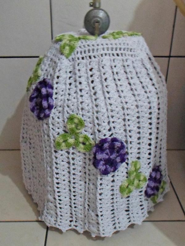 capa de bojão de crochê com folhas