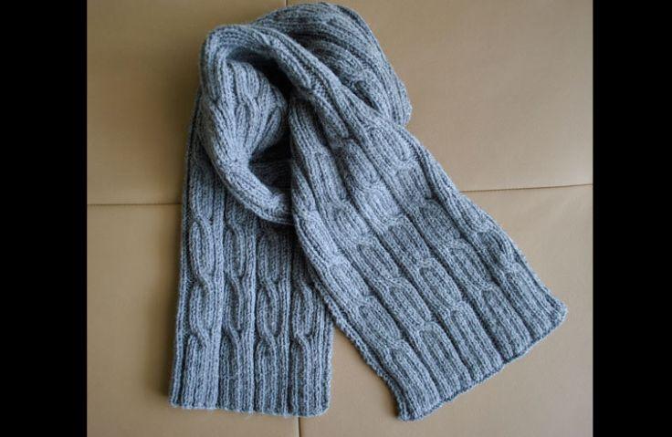 cachecol com tricô azul claro