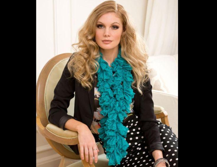 cachecol com tricô turquesa