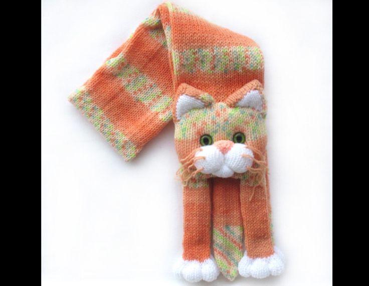 cachecol com tricô de gato