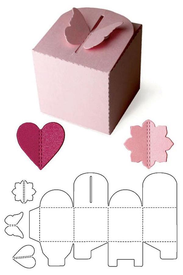 caixa em papel rosa