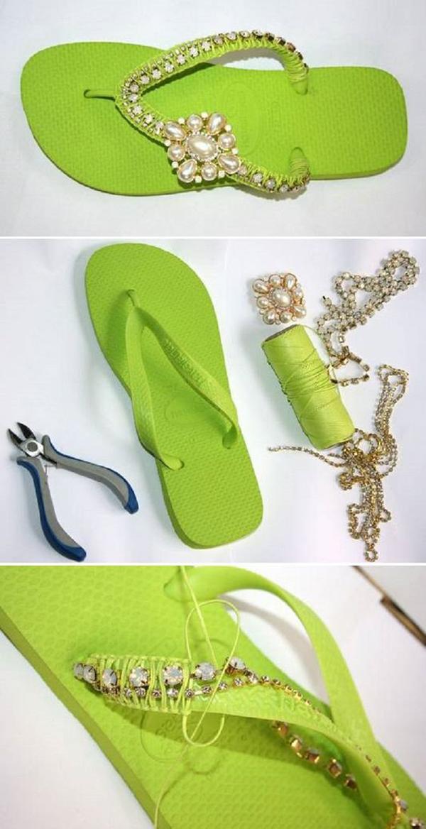 passo a passo chinelos decorados
