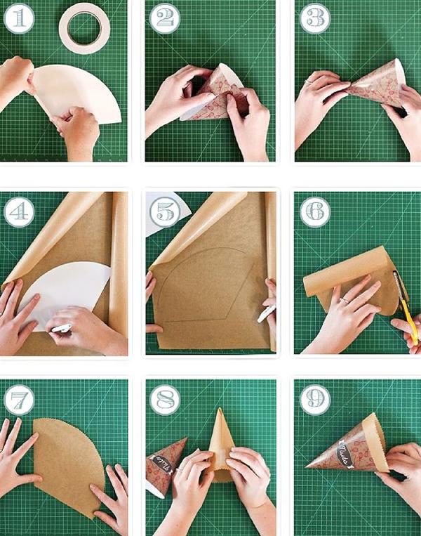 cone em papel simples
