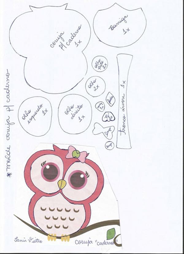 caderno com eva coruja
