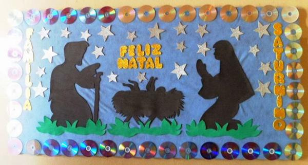 painel escolar de Natal reciclagem